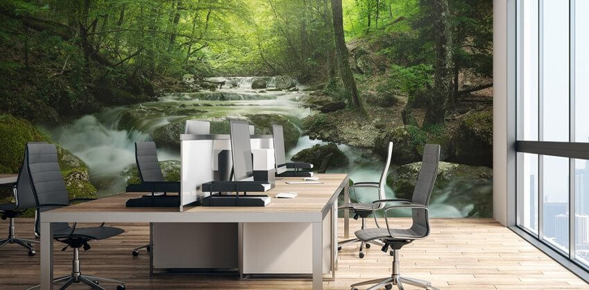 waterfall wallpaper in office