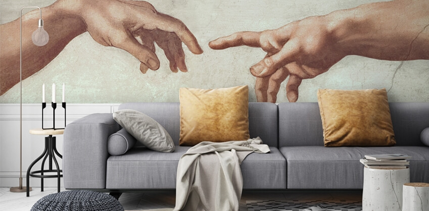 Michelangelo Buonarroti mural in living room
