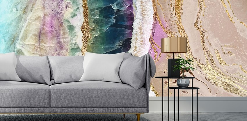 geode wallpaper in living room