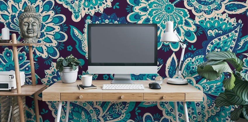 blue asian paisley wallpaper