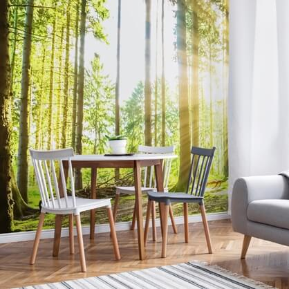 forest wallpaper in dining room
