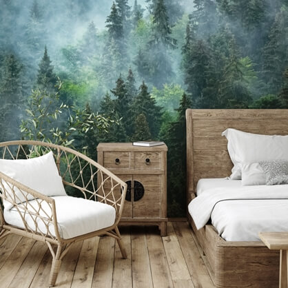 misty forest wallpaper in bedroom
