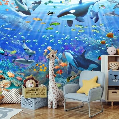 underwater scenery wallpaper in childrens room