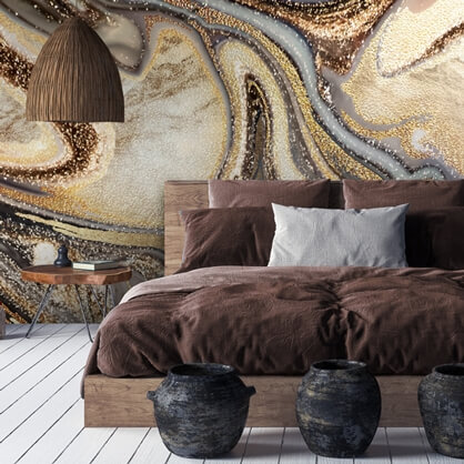 caramel geode wallpaper in bedroom