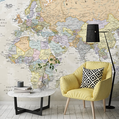 classic map wallpaper in living room